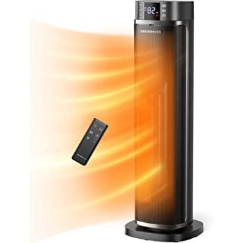 TaoTronics Space 1500W PTC Fast Heating Ceramic Portable Oscillating Electric Heater with Remote & Thermostat 12H Timer LED Display Overheating & Tip-Over Protection for Indoor Use, Large, Black