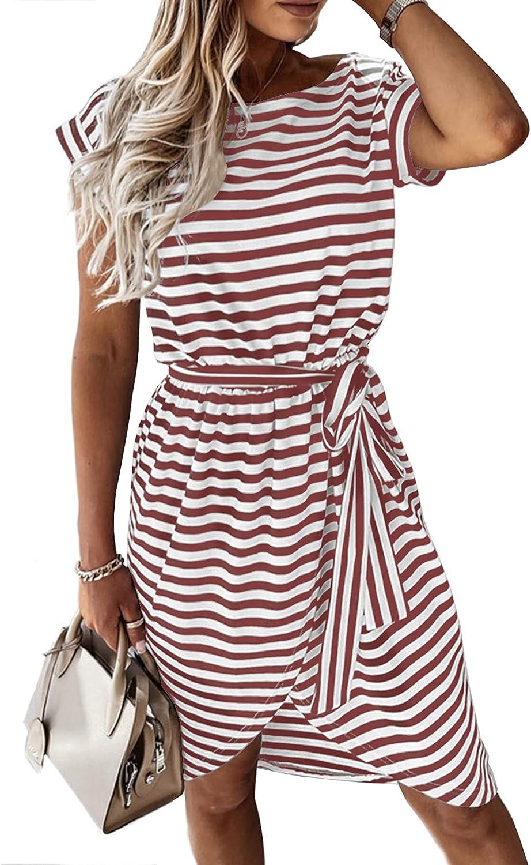 Ferlema Women's Summer Striped Short Sleeve T Shirt Dress Casual Empire Waist Midi Wrap Dresses with Pockets