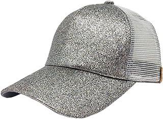 CGXBZA Malla Transpirable Sombreros para El Sol Unisex Gorra Transpirable De Paillette con Agujero De Cola De Caballo Pantalla Solar De Verano Sombrero Rosa Dorado