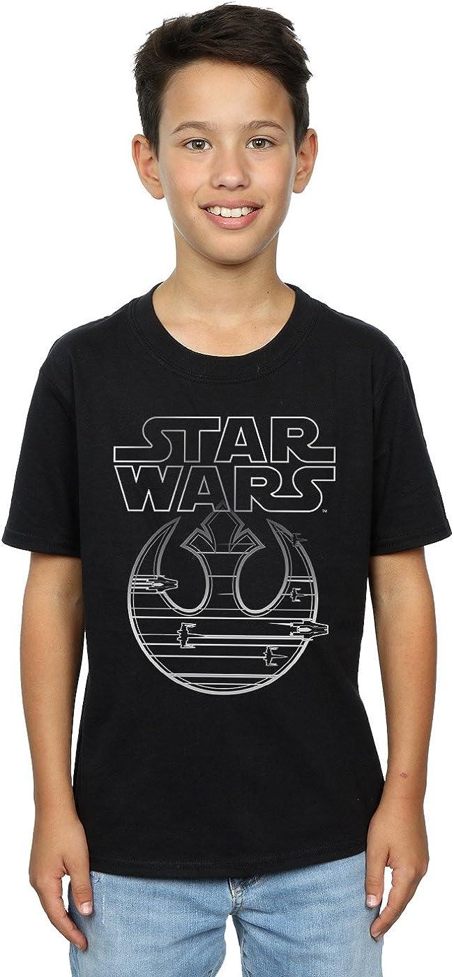 STAR WARS Boys The Last Jedi Resistance Logo Metallic T-Shirt 7-8 Years Black