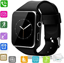 TOPEPOP Smart Watch Bluetooth Wrist Watch Touch Screen Smartwatch with SIM Card Slot Women Men Smart Watches Sync Call Music Unlocked Watch Compatible Android Samsung Note 5 8 9 LG iOS Phones Black