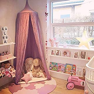 Dix-Rainbow Princess Bed Canopy Net for Kids Baby Bed, Round Dome Kids Indoor Outdoor Castle Play Tent Hanging House Decoration Reading Nook Cotton Mauve Rose