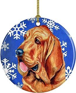 Caroline's Treasures LH9286-CO1 Bloodhound Winter Snowflake Holiday Ceramic Ornament, Multicolor