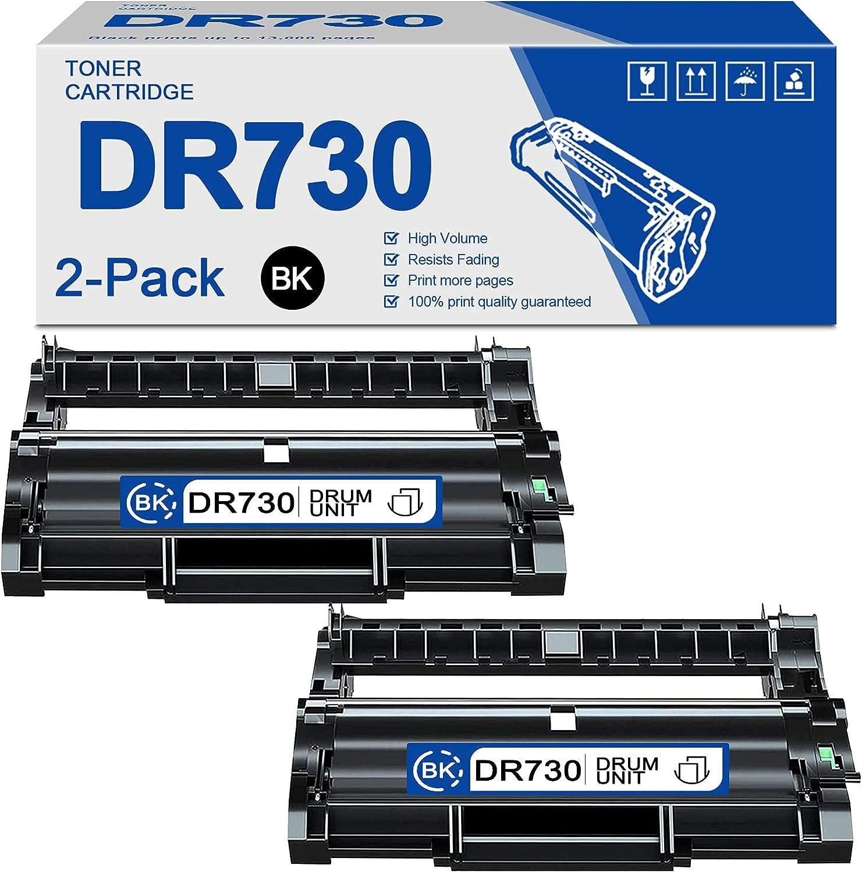 2-Pack (Black) DR730 Compatible Drum Unit Replacement for Brother DCP-L2550DW MFC-L2710DW MFC-L2750DW MFC-L2750DWXL HL-L2350DW HL-L2370DW HL-L2370DWXL HL-L2390DW HL-L2395DW Printer