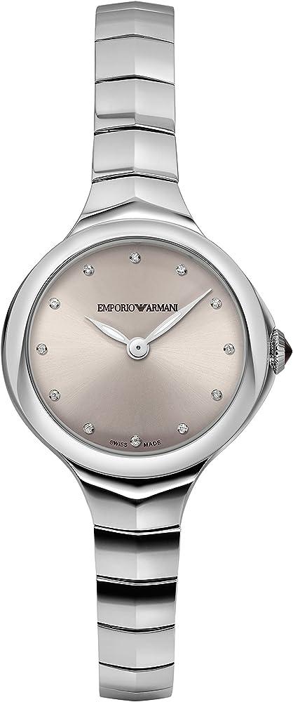 Emporio armani, orologio per donna,in acciaio inossidabile,con quadrante blush sunray con 12 diamanti ARS8013