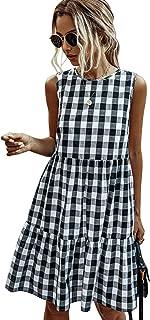 LANISEN Women's Casual Crew Neck Short Sleeve Tie-Front Handkerchief Hem Cocktail Party Dress