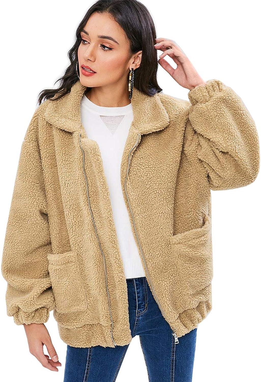 Jean Products Women's Faux Fluffy Shearling Jacket Coat with Pockets Warm Winter Lapel Zip Up Shaggy Outwear Coat Jacket