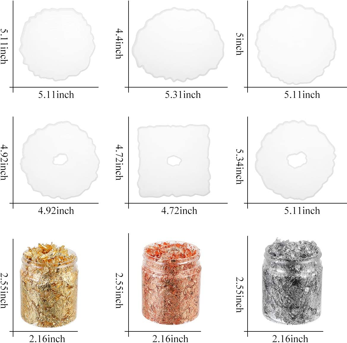 Cysincos 6 St/ück Unregelm/ä/ßig Untersetzer Silikonform Epoxidharz Form Coaster Resin Gie/ßformen Resin Mold Untersetzer Form Basteln DIY