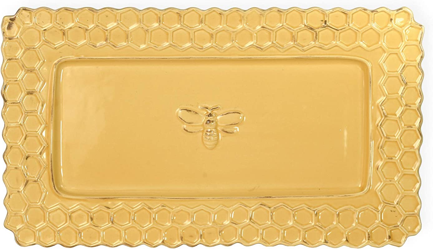 Honeycomb Bumble Bee Golden Yellow 13 X 8 Distressed Glossy Ceramic Platter