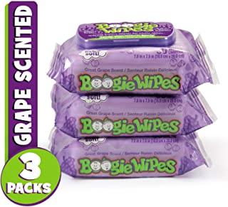 Boogie Wipes, Wet Wipes for Baby and Kids, Nose, Face, Hand and Body, Soft and Sensitive Tissue Made with Natural Saline, Aloe, Chamomile and Vitamin E, Grape Scent, 30 Count (Pack of 3)