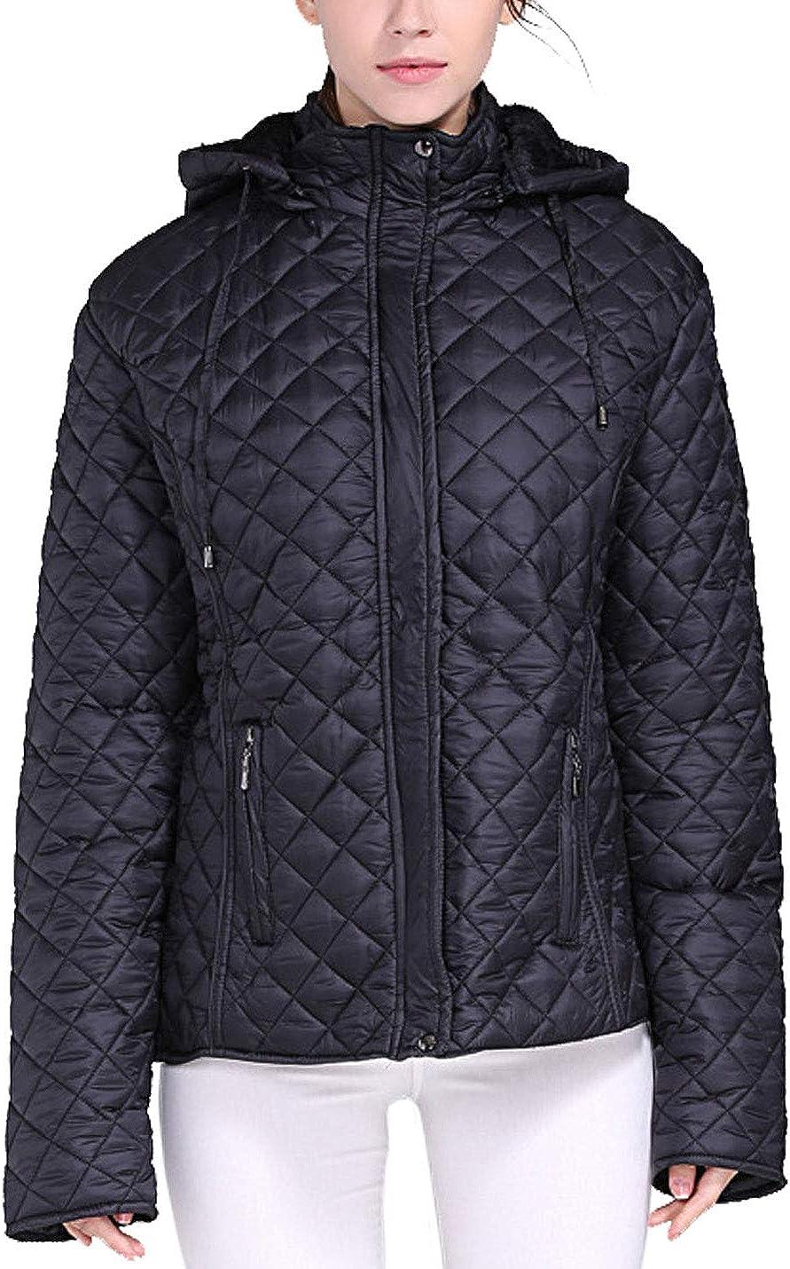 Flygo Women's Winter Plus Size Warm Quilted Down Parka Jacket Outwear
