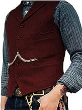 PrettyGirl Dress Men's Business Suit Vest Slim Fit Notch Lapel Wool Tweed Waistcoat for Wedding