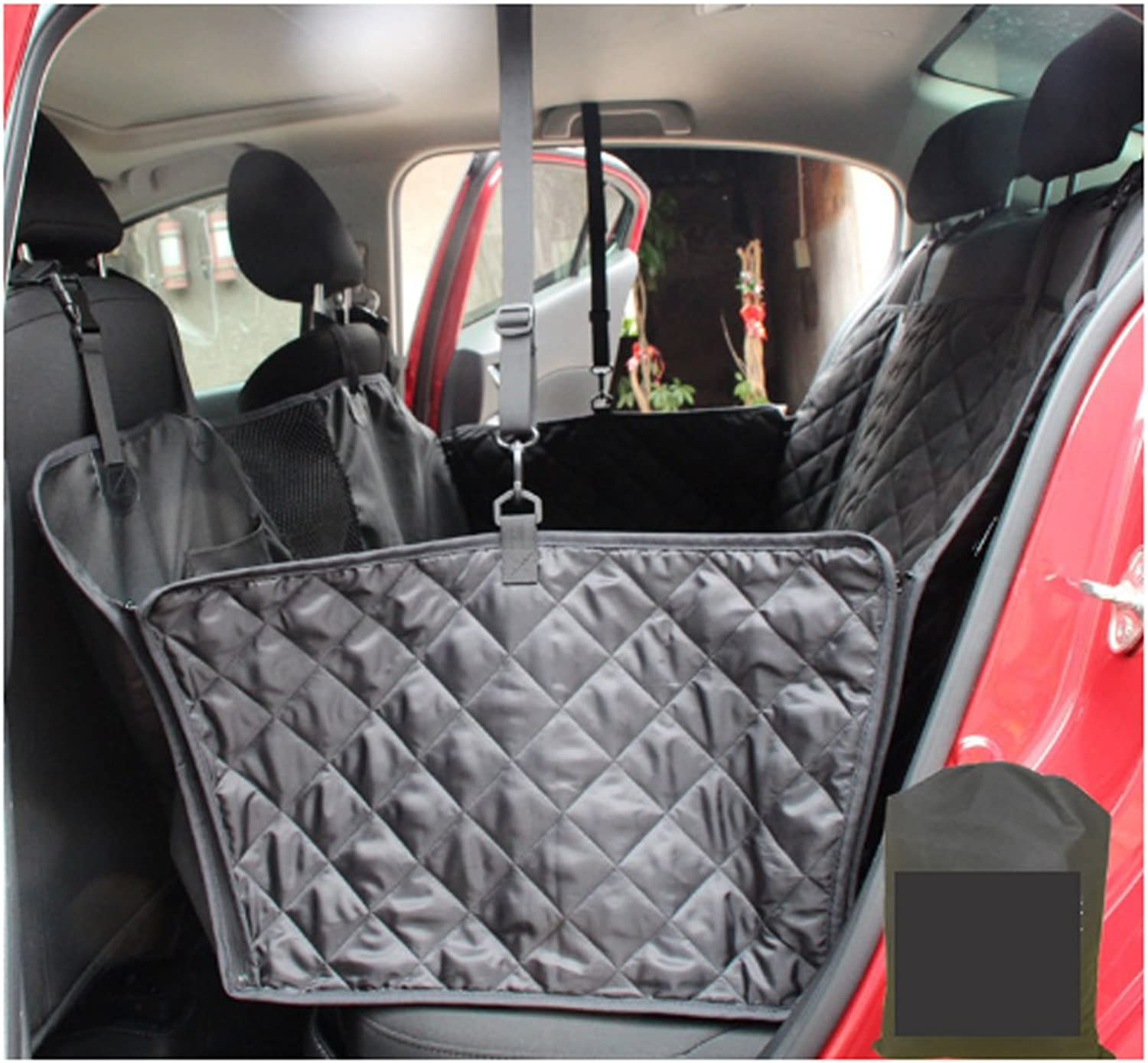 Nonslip Waterproof Travel Dog Seat Covers Back Seat Cover With Car Safety Seat Belt ,Dog Car Seat Cover With Extra Side Flaps And Hammock Congreenible Universal