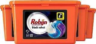 Robijn Black Velvet Wasmiddel 3 in 1 Wascapsules, voor de Donkere en Zwarte Was - 4 x 15 wasbeurten - Voordeelverpakking