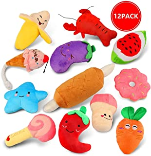 WOPET 12 Pack Dog Squeaky Toys Cute Fruits and Vegetables Plush Toys for Small Medium Dog Pets Toys