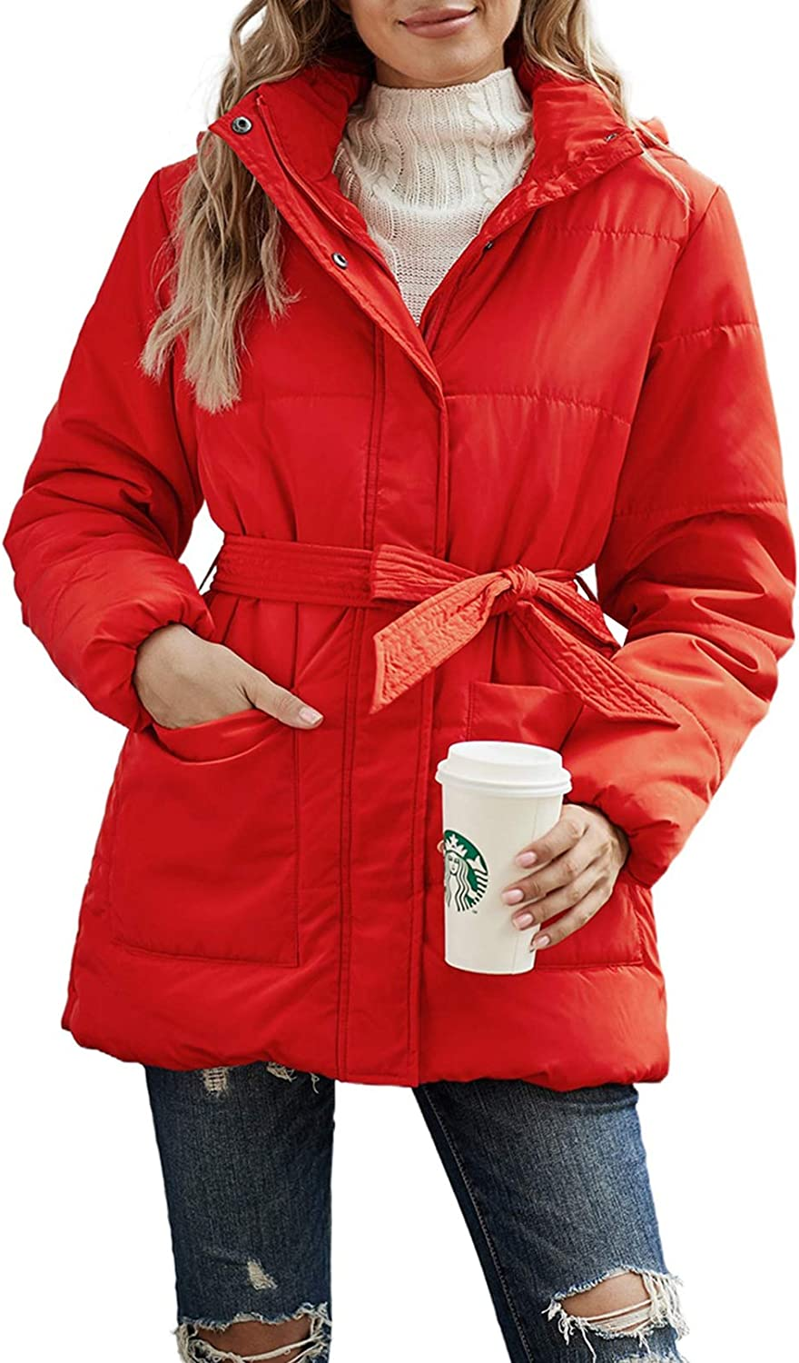 Asyoly Women's Winter Warm Zip Up Quilted Jacket Outerwear Coat with Pockets
