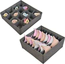 Polecasa Underwear and Bra Organizer- Grey- 2 Pack - Durable Linen Fabric with Thick Cardboard. Drawer Divider Organizers for Bras, Socks, Panties, Ties and Lingerie.
