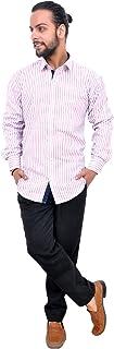 The Mods Men's Formal White/Light Pink Color Shirt