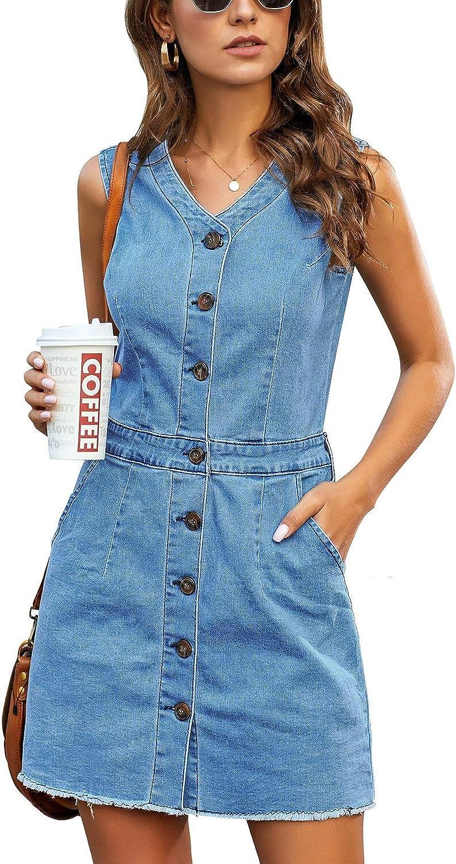 LookbookStore Women Sleeveless V Neck Button Down Frayed Hem Short Denim Dress