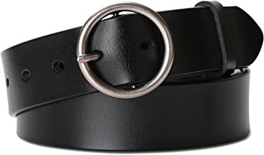 Fashion Women Leather Belt for Dresses Jeans Pants With Classic Round Buckle By SUOSDEY