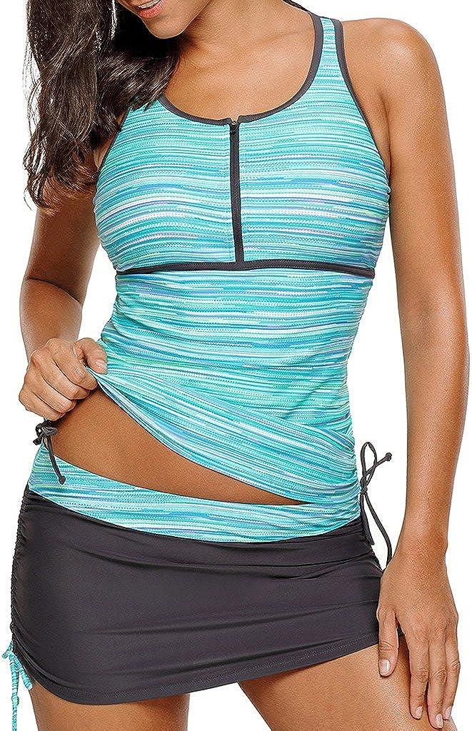 Aleumdr Womens Zip Front Printed Racerback Tankini Swimsuits with Pantyskirt S - XXXL