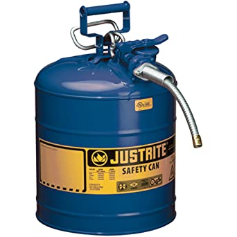"""Justrite AccuFlow 7250320 Type II Galvanized Steel Safety Can with 5/8"""" Flexible Spout, 5 Gallon Capacity, Blue: image"""