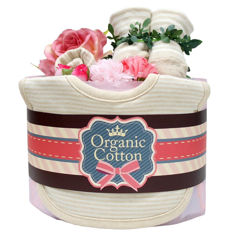 救出ゲージ容量出産祝いに オーガニック 1段 おむつケーキ 名入れ刺繍可能 (M, ピンク)