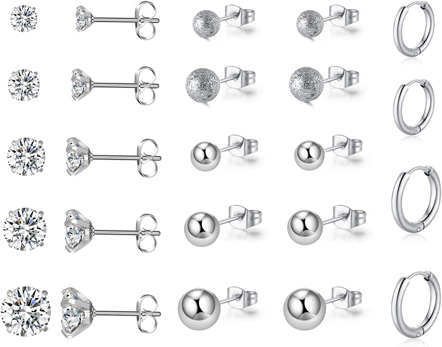 KANOUE 12 latest Pairs Stud Earrings Set Steel Cubic Stainless Popularity Zirconia