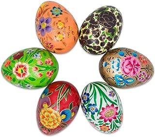 BestPysanky Set of 6 Garden Flowers Bouquet Ukrainian Wooden Easter Eggs