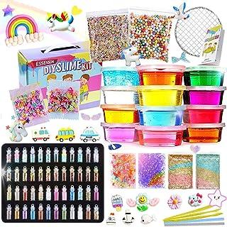 Slime Kit - Slime Supplies Slime Making Kit for Girls Boys, Kids Art Craft, Crystal Clear Slime, Glitter, Unicorn Slime Charms, Fruit Slices, Fishbowl Beads Girls Toys Gifts for Kids Age 6+ Year Old