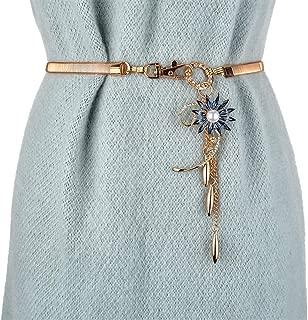 MYCHOMEU Spring and Summer New Ladies Elastic Waist Chain Metal Stretch Fashion Wild Dress Belt (Color : Dark Blue, Size : 75cm)