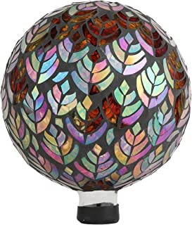 Lily's Home Colorful Mosaic Glass Gazing Ball, Designed with a Stunning Holographic Petal Mosaic Baroque Splendor Pattern to Bring Color to Any Home and Garden, Silver & Purple (10 Inches Dia.)
