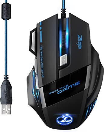 [Versión Actualizada] TOPELEK Ratón Gaming con Cable Profesional USB 5500 DPI con 5 Colores Ajustable RGB y 7 Botón Compatible con Windows 7, 8, 10, XP, Vista, ME, 2000 y Mac OS