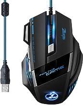 [Versión Actualizada] TOPELEK Ratón Gaming con Cable Profesional USB 5500 DPI con 5 Colores Ajustable RGB y 7 Botón Compatible con Windows 7, 8, 10, XP, Vista, ME, 2000 y Mac OS