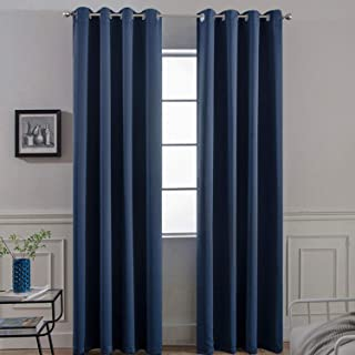 Yakamok Blackout Grommet Curtain Set, Thermal Insulated Light Blocking Window Drapery Bedroom/Living Room, Navy Blue Color, Set of 2, W52 x L96