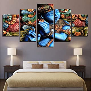 Alasijia 5 Pieces Wall Art Framework Lord Krishna Hindu Religion Paintings Modular Canvas HD Printed Pictures Living Room Decor Poster-30CMx40/60/80CM