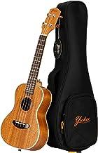 Yuker Soprano Ukulele, Satin Mahogany Concert Ukulele with Advanced Ukulele Strings and Case - 23 inch