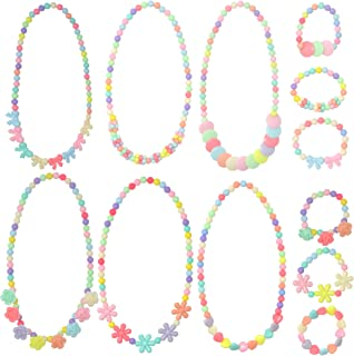 Yushulin 6 Sets Princess Necklace Little Girl Necklace, Girls Jewelry Toddler Costome Jewelry for Kids