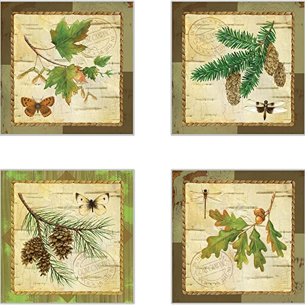 CoasterStone AS10071 A Walk In The Woods Absorbent Coasters 4 1 4 Inch Set Of 4