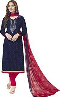 Ishin Women's Dress Material (Ddrvmns-2386_Navy Blue & Pink_One Size)