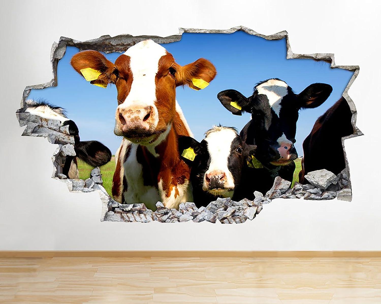 C633 Cows Farm Field Summer Living Smashed Wall Decal 3D Art Stickers Vinyl RoomKids Bedroom Baby Nursery Cool Livingroom Hall Boys Girls