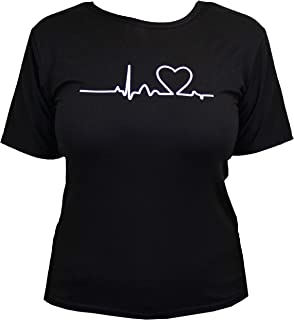 Women's Heartbeat Love Graphic Short Sleeve T-Shirt for Nurses, Students, and Teens