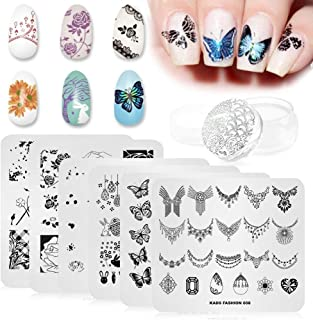 KADS 6 Pcs Nail Art Stamping Plates Flower Butterfly Rabbit Fashion Print Manicure Templates with 1 Pc Polish Stamper (6 Plates+1 Stamper)