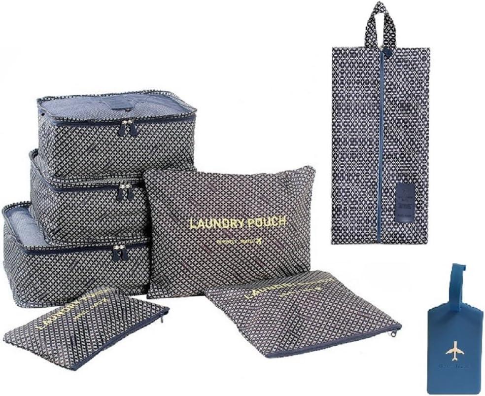 Novago - Juego de 7 bolsas completas de diferentes tamaños, organizadores de maleta y viaje + 1 etiqueta de equipaje