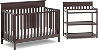 Crib and Change Table Nursery Furniture Set in A Box by Storkcraft - The Windard Set Includes a 4 in 1 Convertible Crib & Changing Table with Water-Resistant Change Pad, Espresso