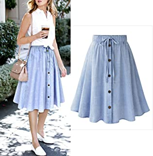 ed0ba6f3377 Han Shi Skater Skirt Women Stripe Lace High Waist Dress Party Plain Flared  Skirt (Blue