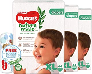 Huggies Platinum Naturemade XL Diapers + Free Huggies Pure Clean Wipes, 132 count (Pack of 3)