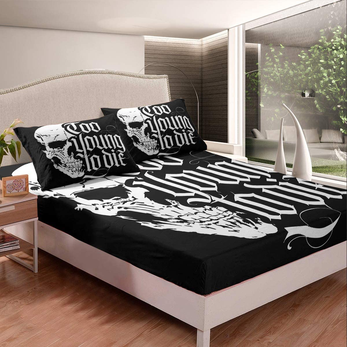 Queen Fitted Sheet Limited Special Challenge the lowest price of Japan Price Skull White Black Bed Pocke Cozy Deep