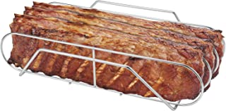 "SOLIGT Extra Large Stainless Steel Rib Rack for 18"" or Larger Grills - Holds up to 3 Full Racks of Ribs"
