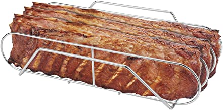"""SOLIGT Extra Large Stainless Steel Rib Rack for 18"""" or Larger Grills - Holds up to 3 Full Racks of Ribs"""